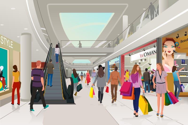 La gente che compera in un centro commerciale royalty illustrazione gratis