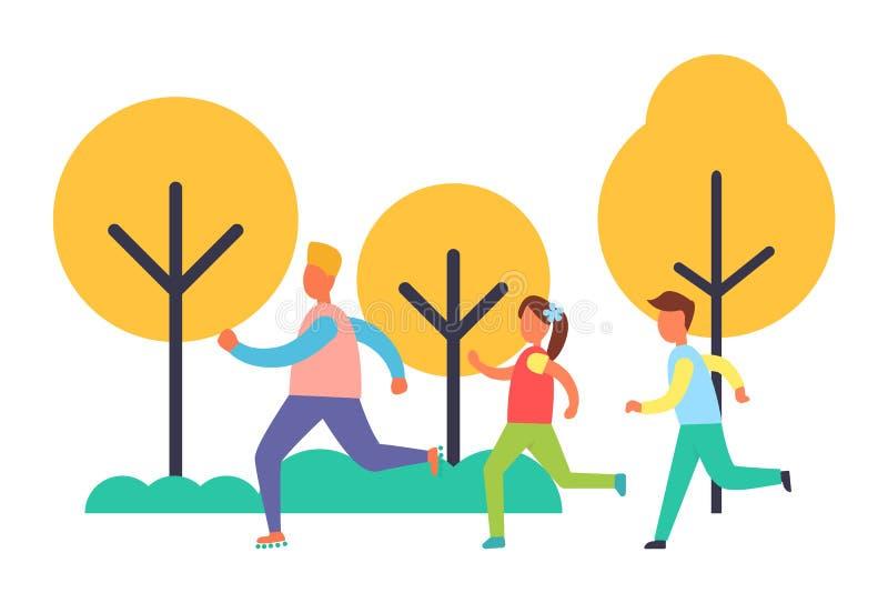 La gente che corre nell'insieme del parco, icona del fumetto di vettore illustrazione vettoriale
