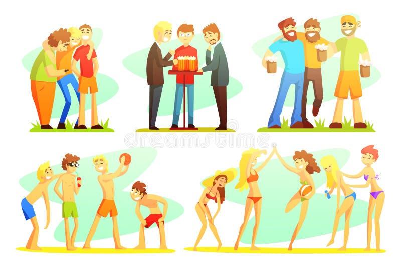 La gente che esegue le attività all'aperto di estate sulla spiaggia che prende il sole, camminando, personaggi dei cartoni animat royalty illustrazione gratis
