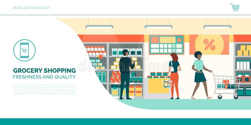 La gente che fa spesa di drogheria al supermercato royalty illustrazione gratis