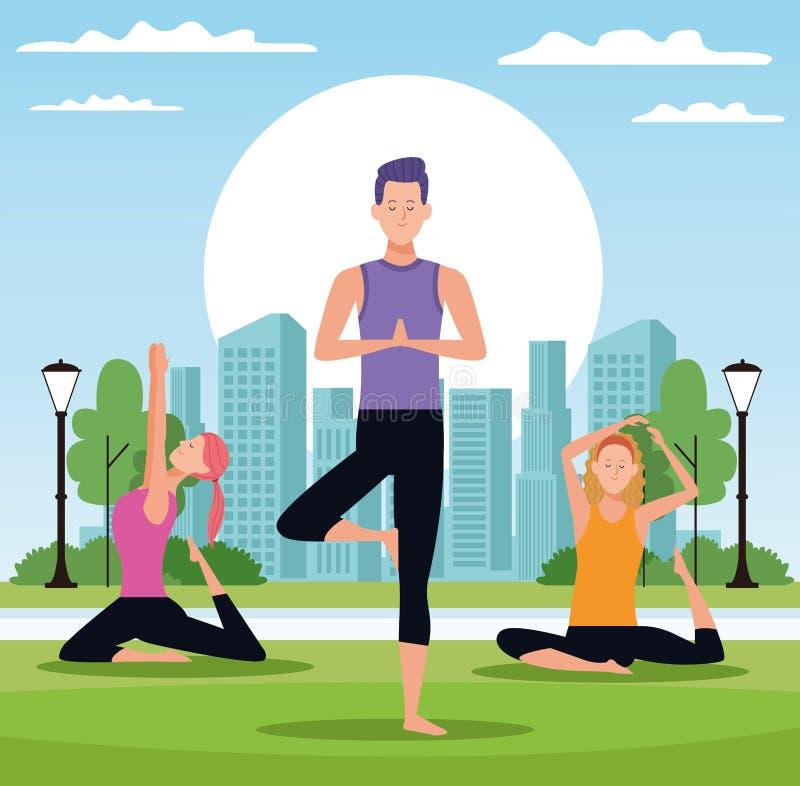 La gente che fa yoga illustrazione vettoriale