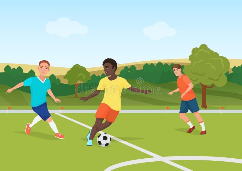 La gente che gioca a calcio nello stadio del campo Illustrazione di vettore dei giocatori dell'uomo di calcio illustrazione di stock