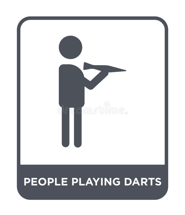la gente che gioca l'icona dei dardi nello stile d'avanguardia di progettazione la gente che gioca l'icona dei dardi isolata su f royalty illustrazione gratis