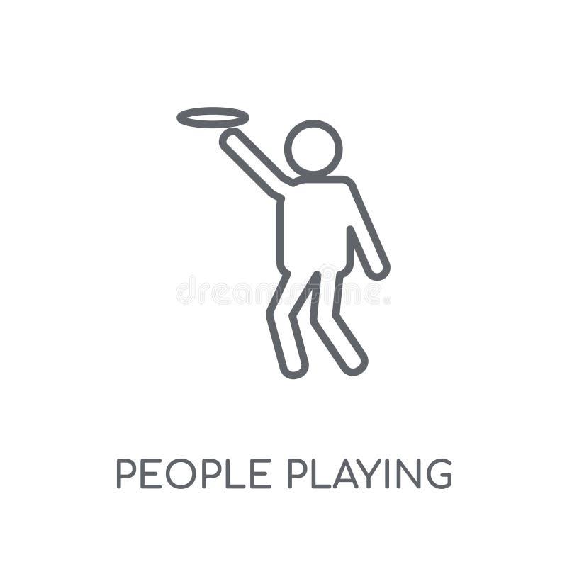 La gente che gioca l'icona lineare dell'icona di frisbee Gente moderna p del profilo illustrazione di stock