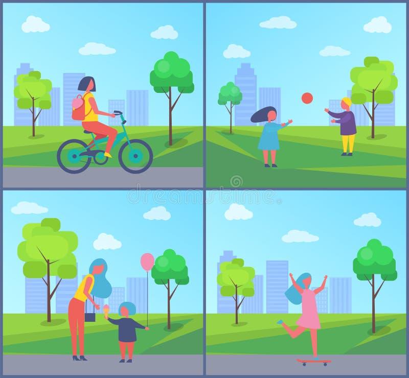 La gente che gioca nel distintivo isolato fumetto del parco royalty illustrazione gratis