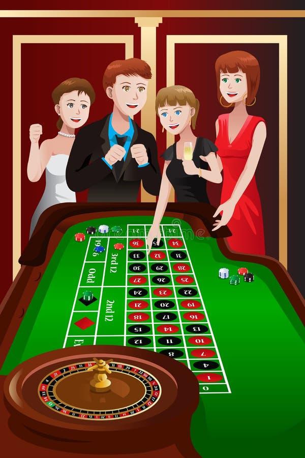 La gente che gioca roulette in un casinò illustrazione vettoriale