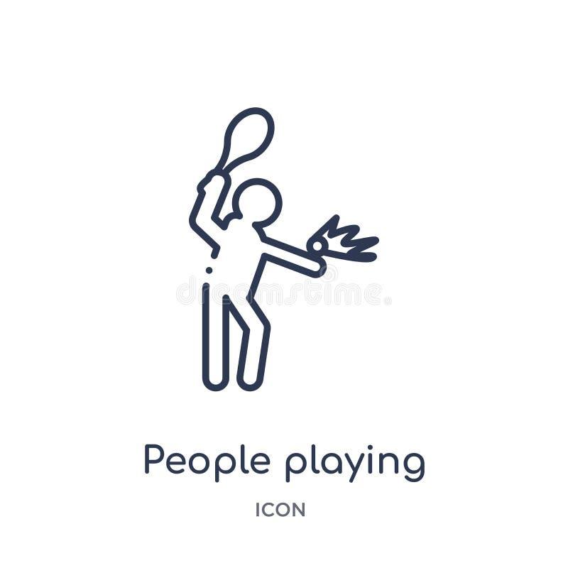 la gente che gioca a tennis icona dalla raccolta ricreativa del profilo dei giochi Linea sottile la gente che gioca a tennis icon illustrazione vettoriale