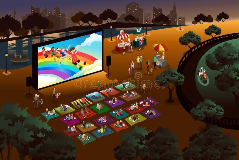 La gente che guarda film all'aperto in un parco royalty illustrazione gratis