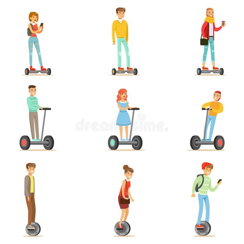 La gente che guida i motorini elettrici personali elettrici Whith di Batery Poweres di equilibrio una o due ruota, insieme di Car royalty illustrazione gratis