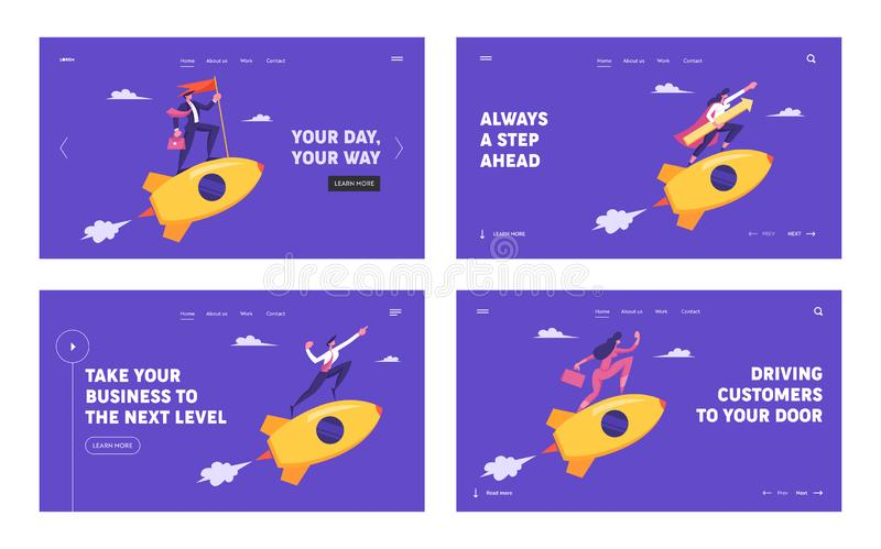 La gente che guida Rockets dorati nell'insieme della pagina di atterraggio del sito Web del cielo La direzione di affari, inizia  illustrazione vettoriale