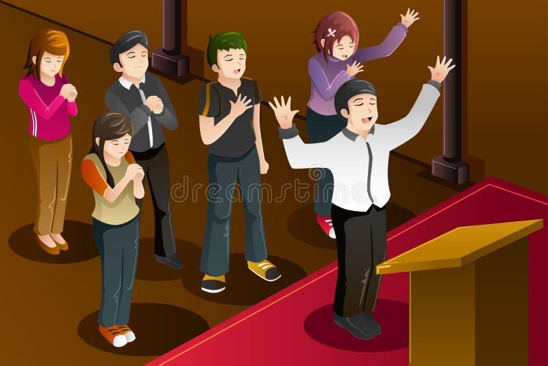 La gente che ha una preghiera del gruppo royalty illustrazione gratis
