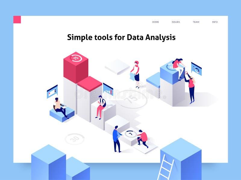 La gente che interagisce con i grafici e che analizza le statistiche ed i dati Modello della pagina di atterraggio illustrazione  illustrazione vettoriale