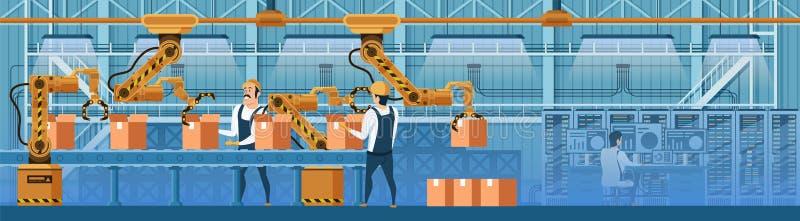 La gente che lavora con i robot sulla linea vettore del trasportatore royalty illustrazione gratis