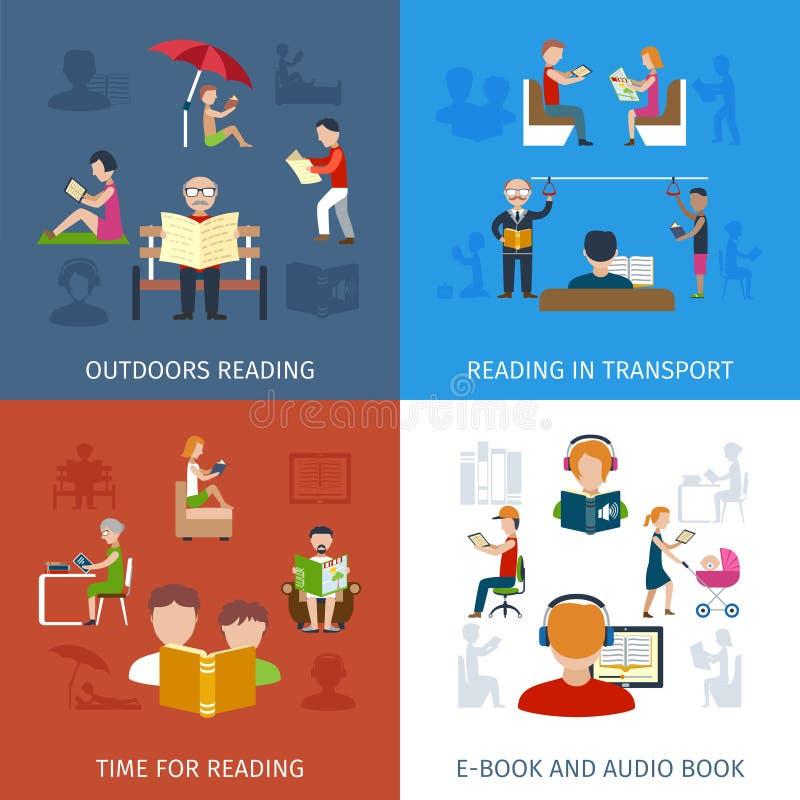 La gente che legge insieme royalty illustrazione gratis