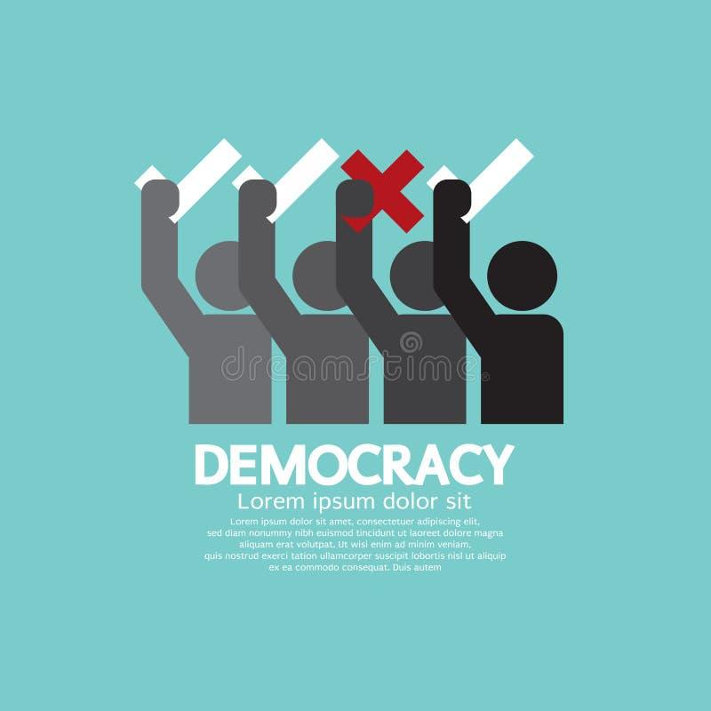 La gente che non mostra voto sì e concetto di democrazia illustrazione vettoriale