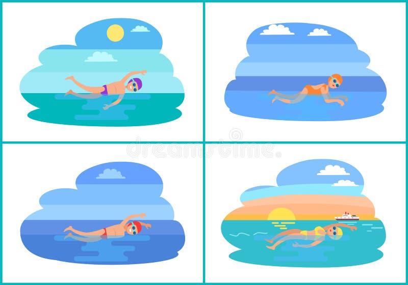 La gente che nuota nell'icona di vettore del fumetto dell'acqua royalty illustrazione gratis