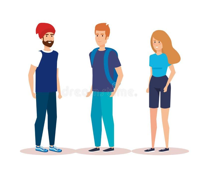 La gente che parla con l'abbigliamento casual e l'acconciatura illustrazione di stock