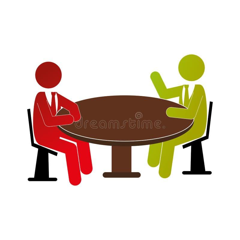La gente che parla nell'icona della tavola royalty illustrazione gratis