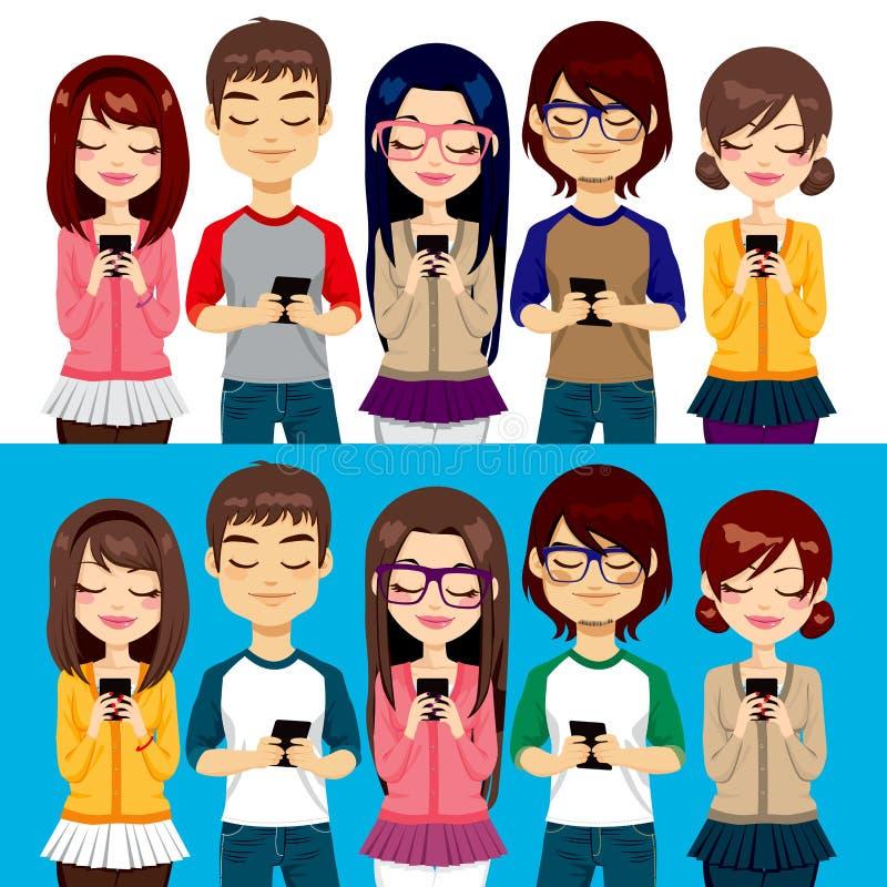La gente che per mezzo dei telefoni cellulari illustrazione di stock