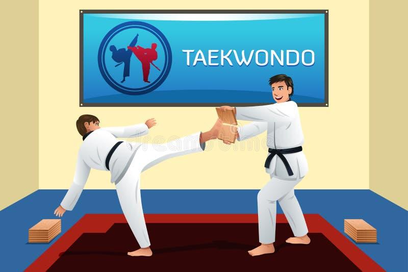 La gente che pratica il Taekwondo illustrazione di stock