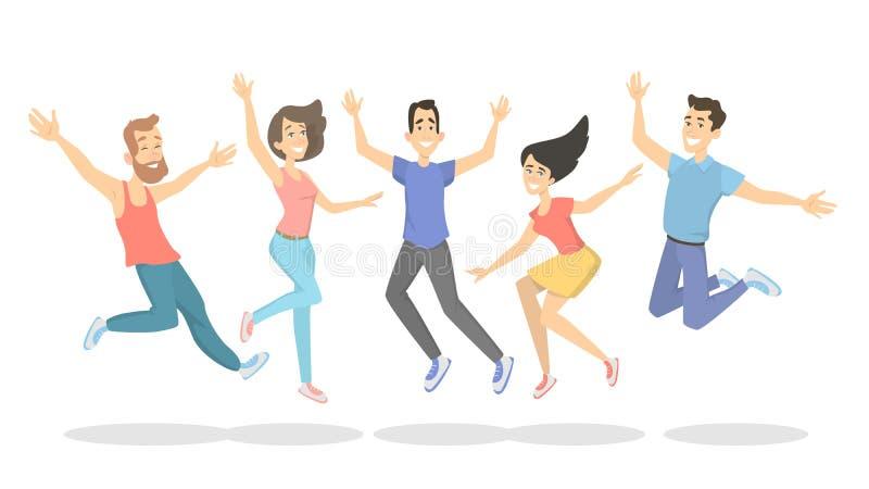 La gente che salta sul bianco illustrazione vettoriale