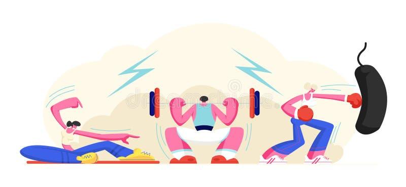 La gente che si esercita nella palestra Uomo che occupa con il peso, ragazza di Powerlifting che fa forma fisica di sport o addes illustrazione vettoriale