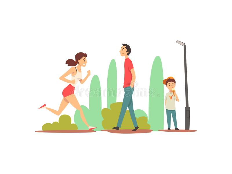 La gente che si rilassa e che fa gli sport in parco, ragazza allegra che corre, giovane che cammina, vettore sveglio del gelato d illustrazione vettoriale