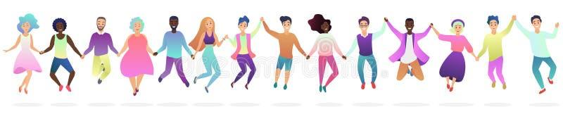 La gente che si tiene per mano in un salto insieme dell'illustrazione di vettore della siluetta illustrazione di stock