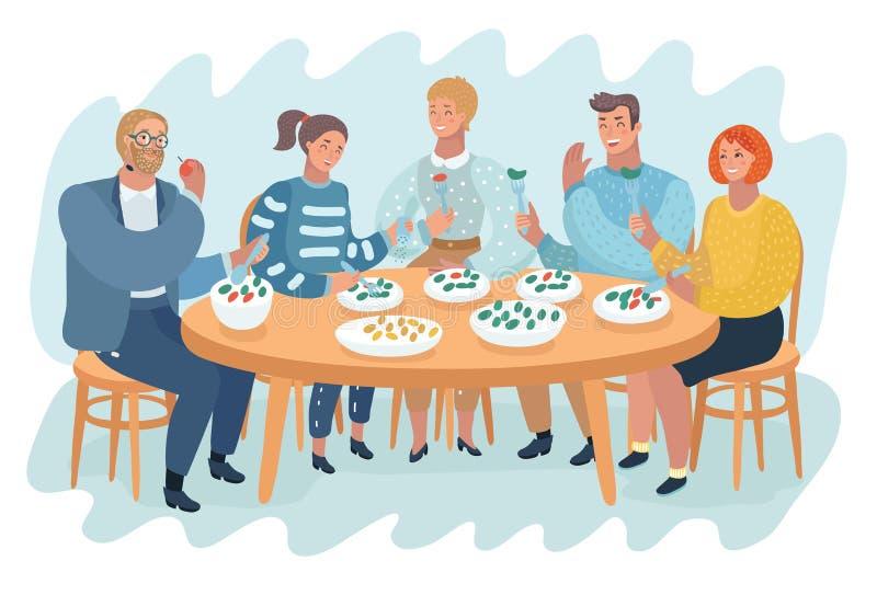La gente che spende tempo del pranzo al caffè illustrazione vettoriale