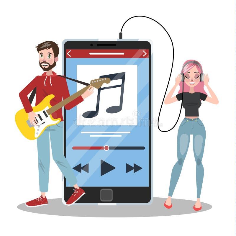 La gente che sta al grande smartphone ed ascoltare la musica illustrazione di stock