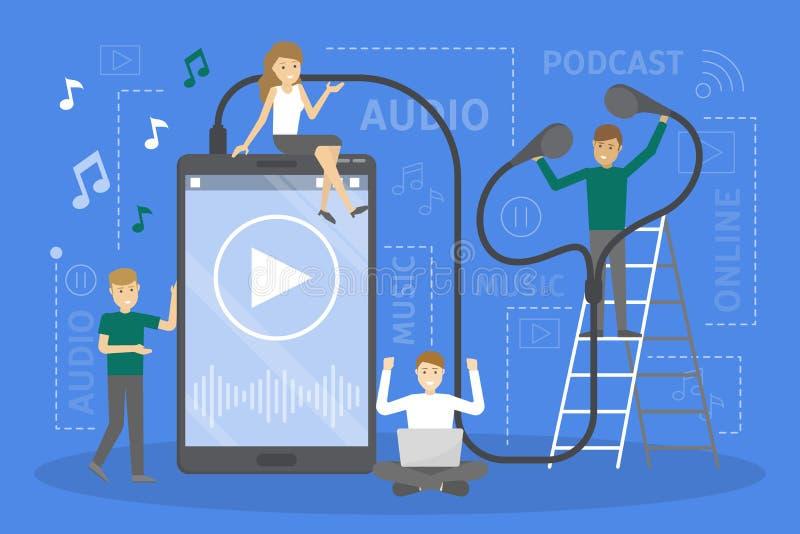 La gente che sta al grande smartphone ed ascoltare la musica illustrazione vettoriale