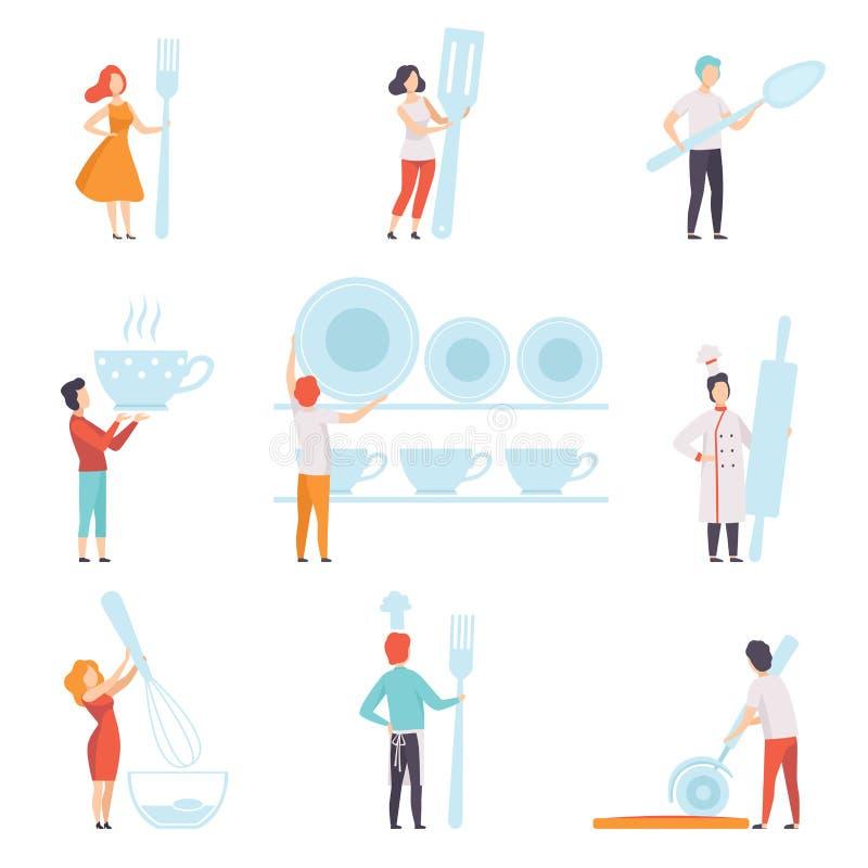 La gente che tengono l'insieme di strumenti gigante della cucina, uomo anonimo e condizione della donna con l'illustrazione di ve illustrazione vettoriale
