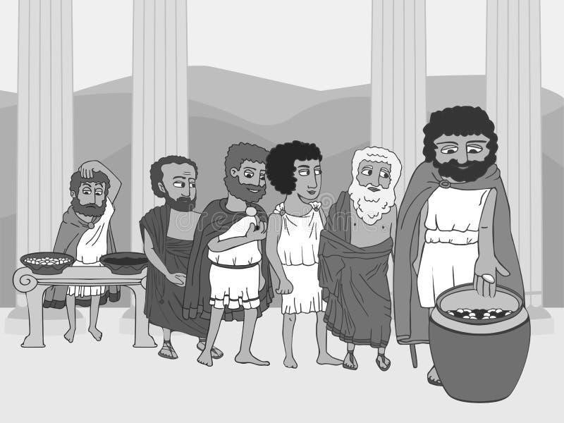 La gente che vota nei polis di Grecia antica royalty illustrazione gratis