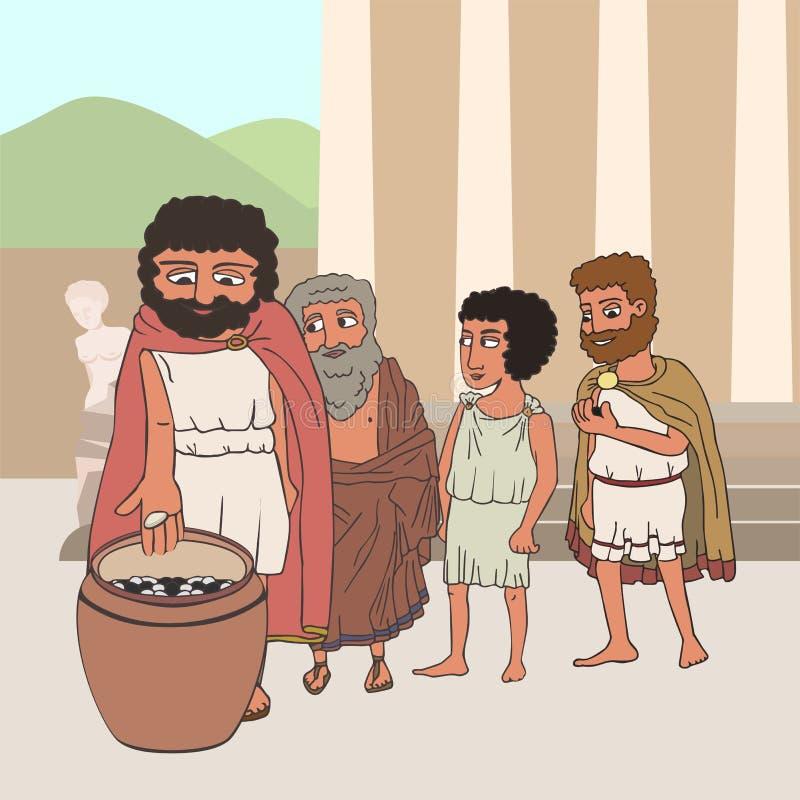 La gente che vota nel fumetto di Grecia antica royalty illustrazione gratis