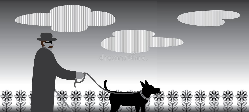 La gente cieca sta camminando con aiuto dei cani guida royalty illustrazione gratis