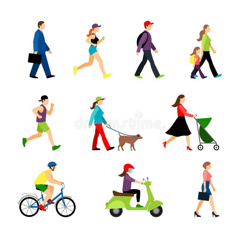 La gente in città isolata su fondo bianco Gli uomini e le donne nello stile di vita urbano vector l'illustrazione royalty illustrazione gratis