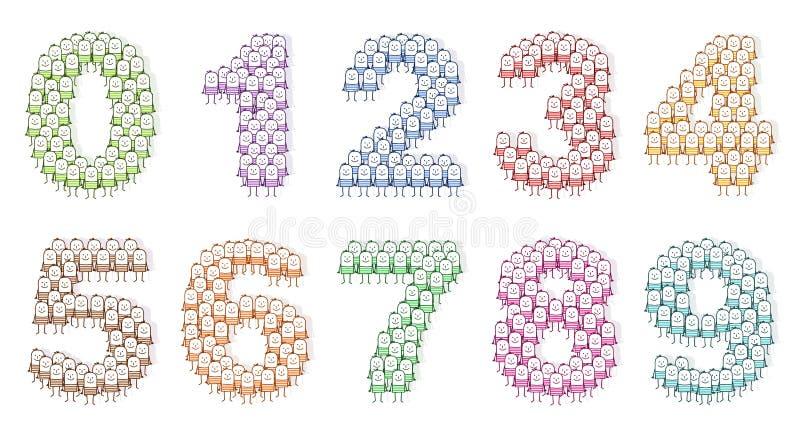 La gente coloreada numera 0 a 9 libre illustration