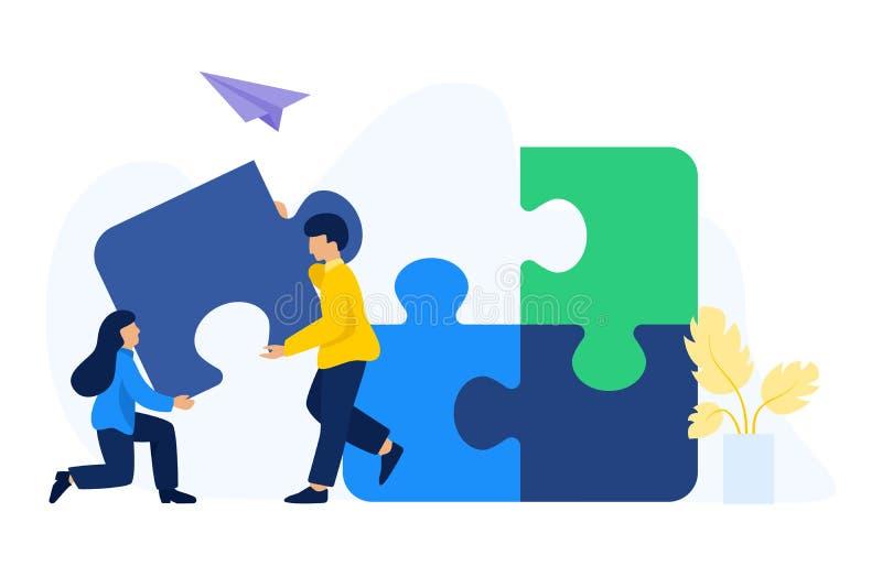 La gente combina elementos para arriba de conexión del rompecabezas stock de ilustración