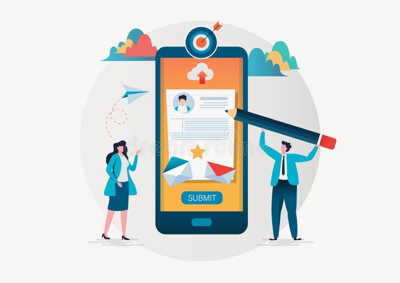 La gente compila una forma via l'applicazione mobile Modulo di iscrizione online Progettazione di carattere moderna dell'illustra illustrazione vettoriale