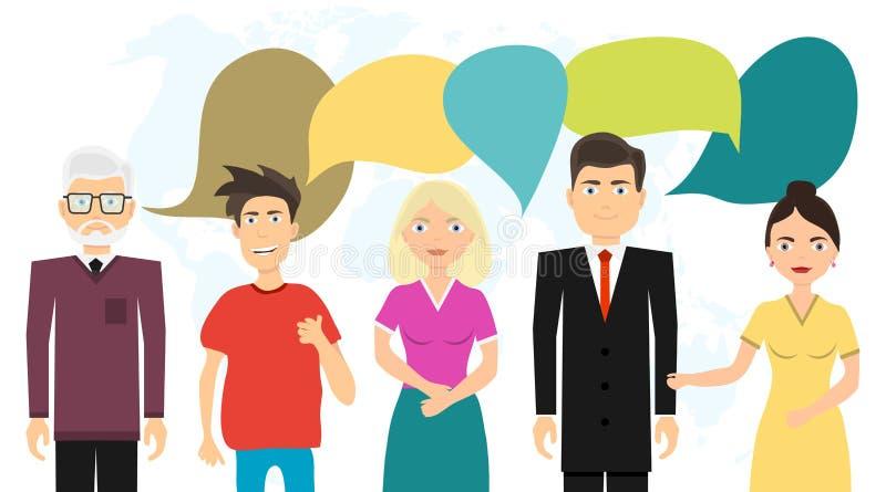 La gente comunica con uno a, comunica a gente Gente y sus pensamientos stock de ilustración