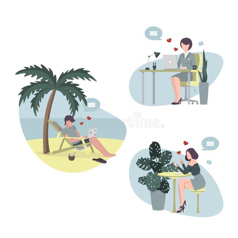 La gente comunica facendo uso di Internet ad una distanza illustrazione vettoriale