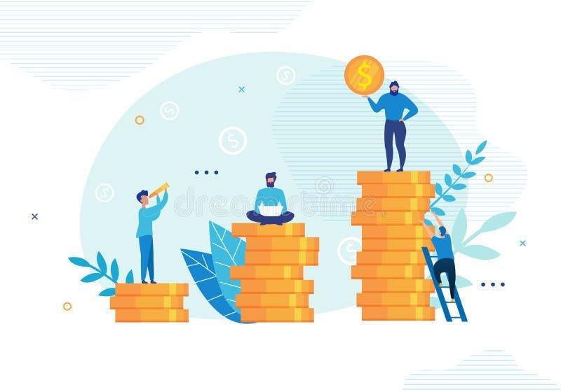La gente comunica y trabaja en problemas financieros stock de ilustración