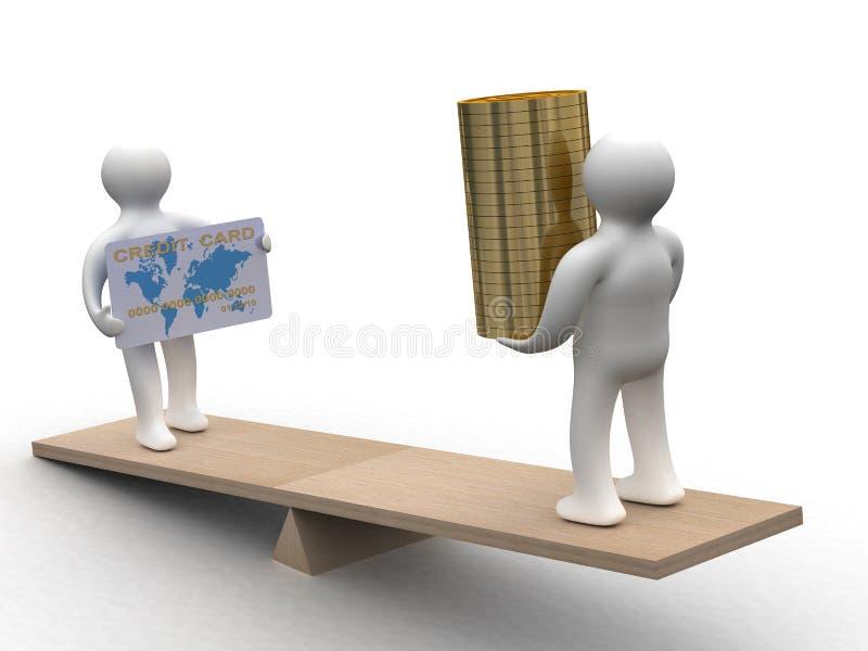 La gente con contanti e una carta di credito sui pesi. illustrazione di stock