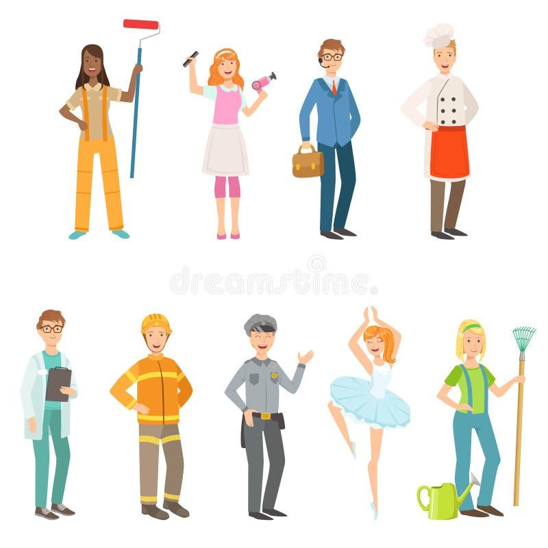 La gente con differenti professioni in attrezzature classiche messe royalty illustrazione gratis