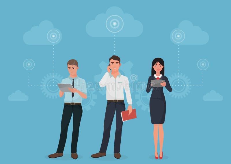 La gente con gli aggeggi facendo uso delle comunicazioni sociali del rapporto d'affari nel concetto delle nuvole illustrazione di stock