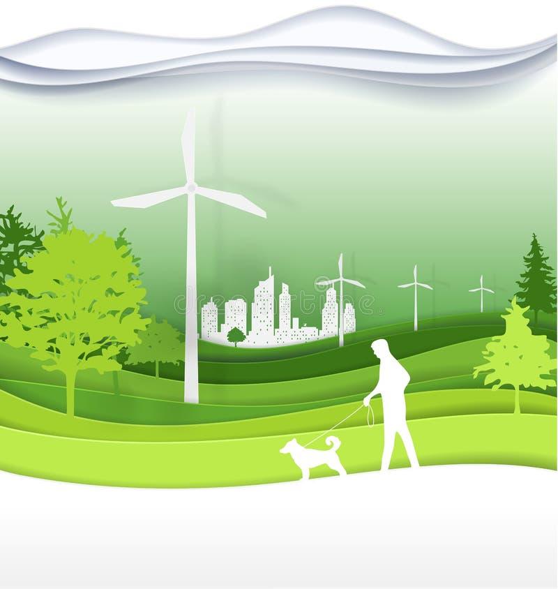 La gente con i cani che camminano nel Park City verde per vita La pista dell'aeroporto internazionale di E royalty illustrazione gratis