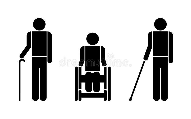 La gente con i simboli di inabilità royalty illustrazione gratis