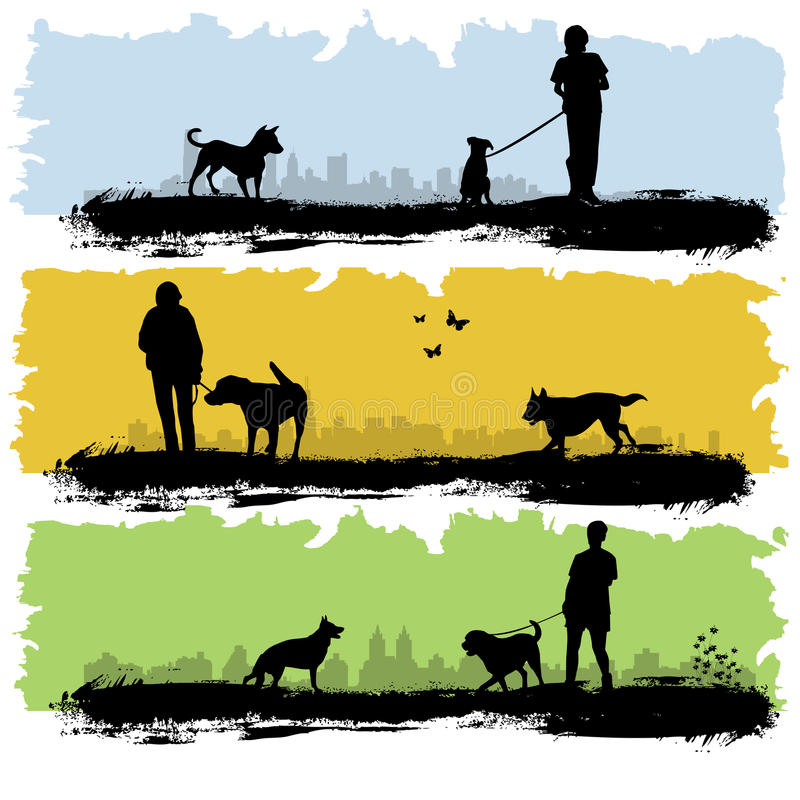 La gente con il cane royalty illustrazione gratis