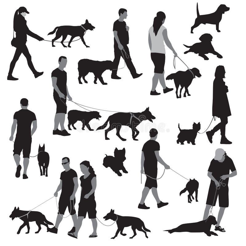 La gente con il cane illustrazione di stock