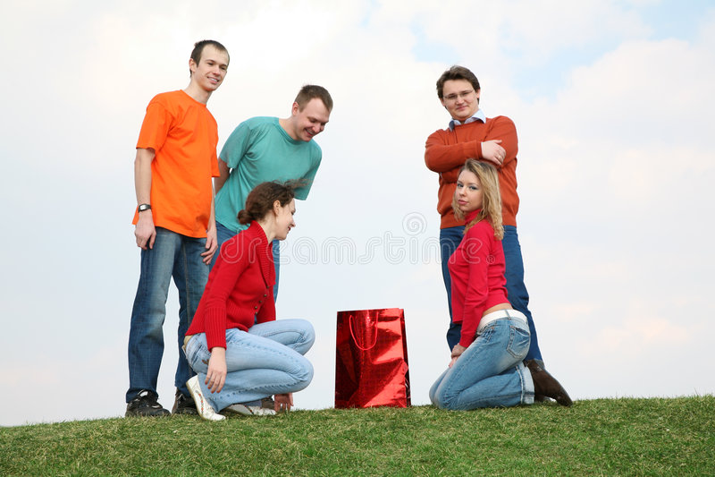 La gente con il pacchetto fotografie stock libere da diritti